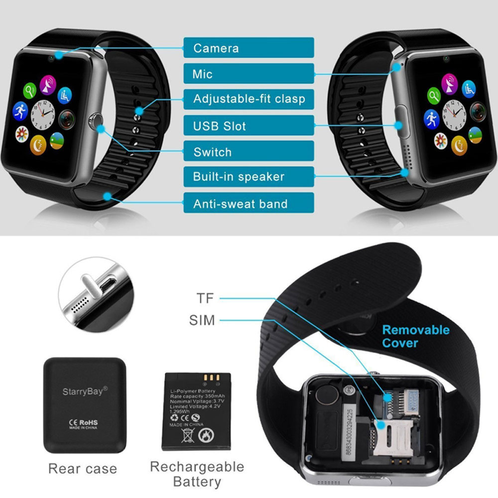 Smart Watch Sleep Monitor Pedometer 2G SIM Card Call Camera Bluetooth Touch Screen Men Women Smartwatch For Android IOS 5
