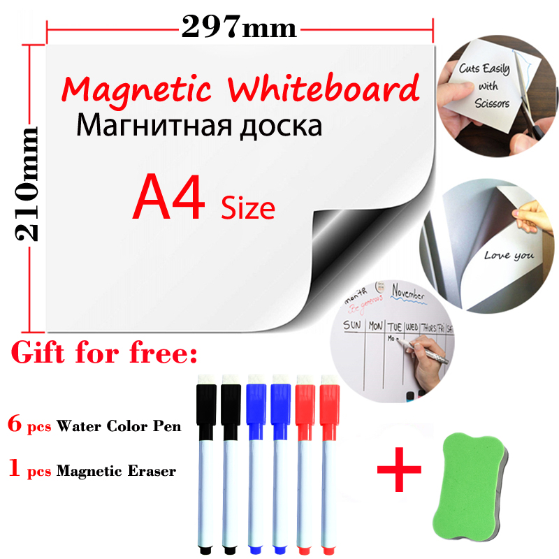 A4 Size Magnets Fridge Stickers School Student Kids Dry Erase White Boards Magnetic WhiteBoard Kitchen Office Message Boards