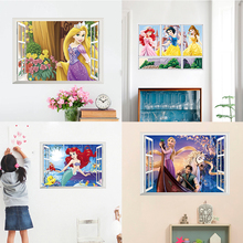 3D Frozen Snow White Princess Window Wall Decals Bedroom Home Decor Cartoon Cinderella Belle Aurora Wall Stickers Pvc Mural Art cinderella princess dolls 8cm snow white belle aurora pvc action figure collection model toys