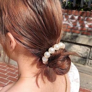 Elegant Big Pearls Women Hair Ties Scrunchie Elastic Rubber Band Ponytail Holder Hair Rope Ladies Girl Headwear Hair Accessories