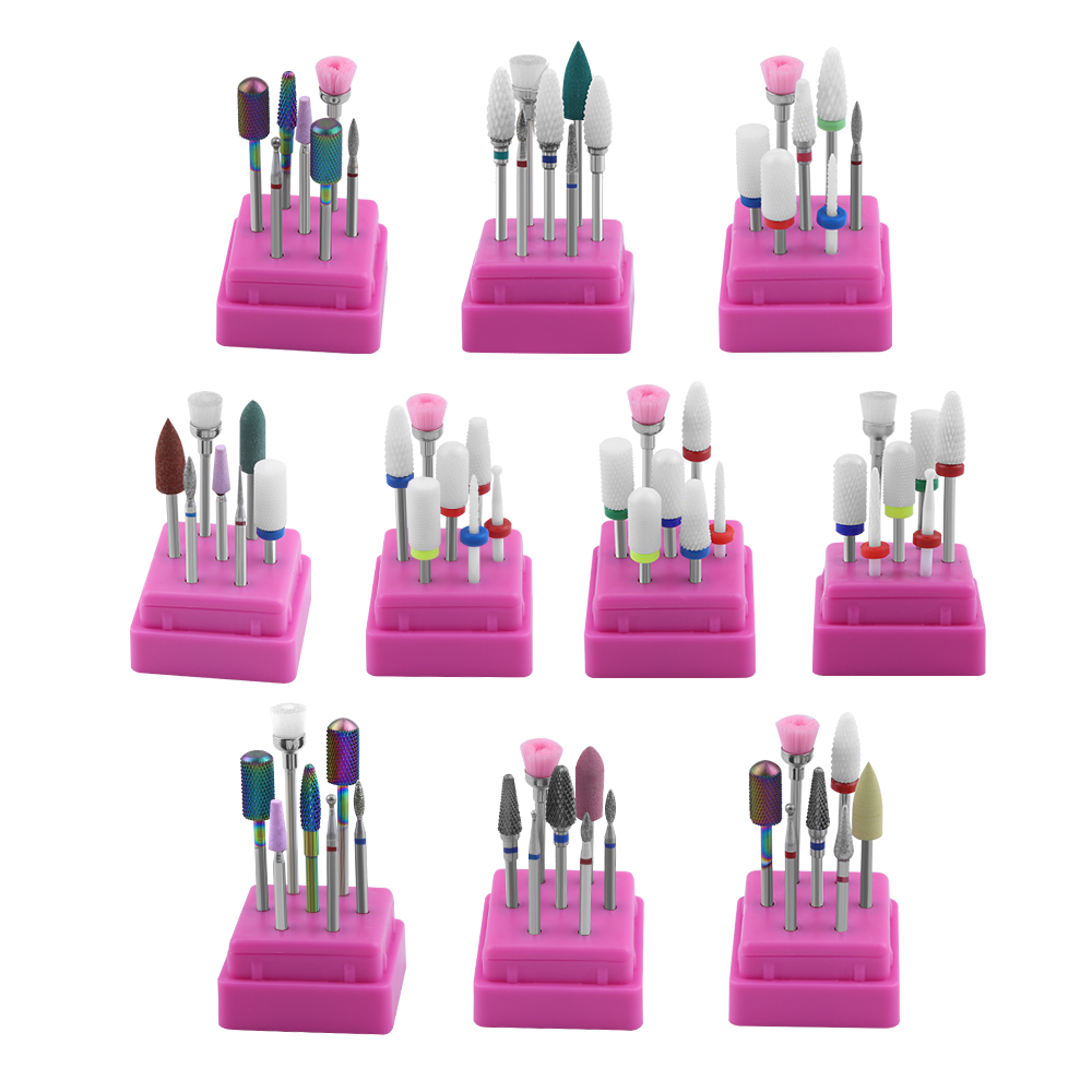7 Pcs Ceramic Diamond Nail Drill Bits Set Carbide Milling Cutter for Manicure Milling Cutters for Metal Milling Cutter Nail Art