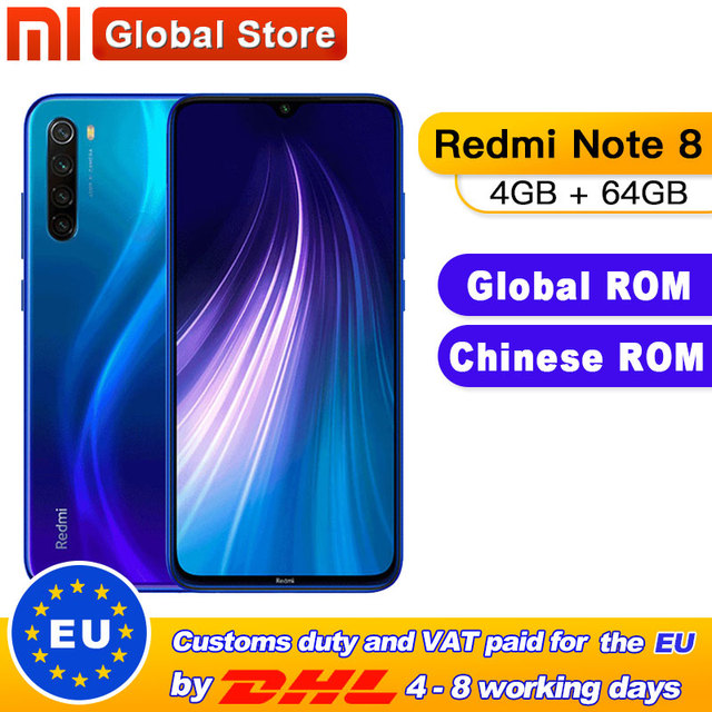 "Global ROM Xiaomi Redmi Note 8 4GB 64GB Snapdragon 665 Octa Core Smartphone 6.3"" 48MP Quad Rear Camera 4000mAh Mobilephone"