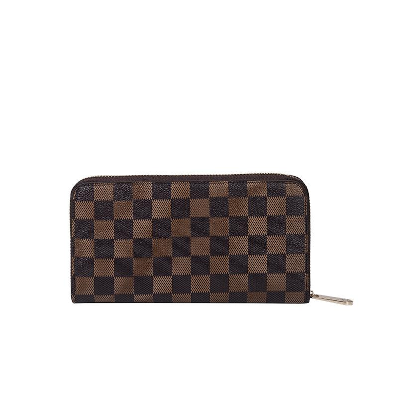 KYYSLO Plaid Design Luxury Long Wallet European and American Fashion Large-capacity Coin Pockets Leisure Wild Women Clutch