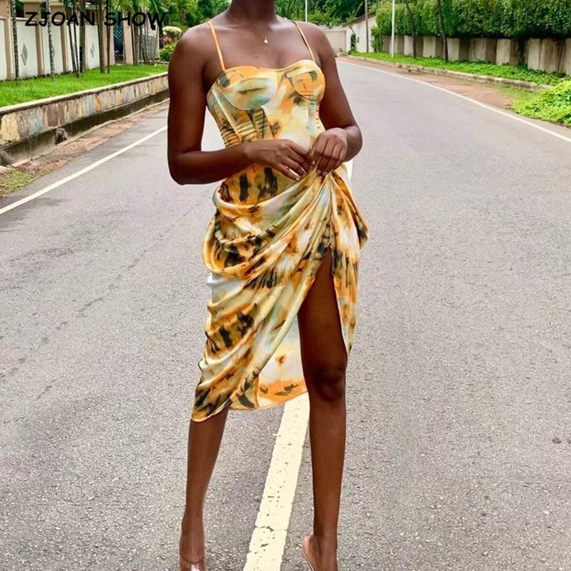 2020 Women Vintage Yellow Tie dye Flower print  Spaghetti Strap Dress Hem Slim Waist Slit Irregular Long Dresses Sling Vestido 1