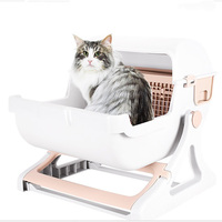 Cat Litter Box Semi Automatic Quick Cleaning Luxury Cat Toilet Tray Semi Automatic Cat Toilet Loo Tray Flip Cover Cat Bedpans