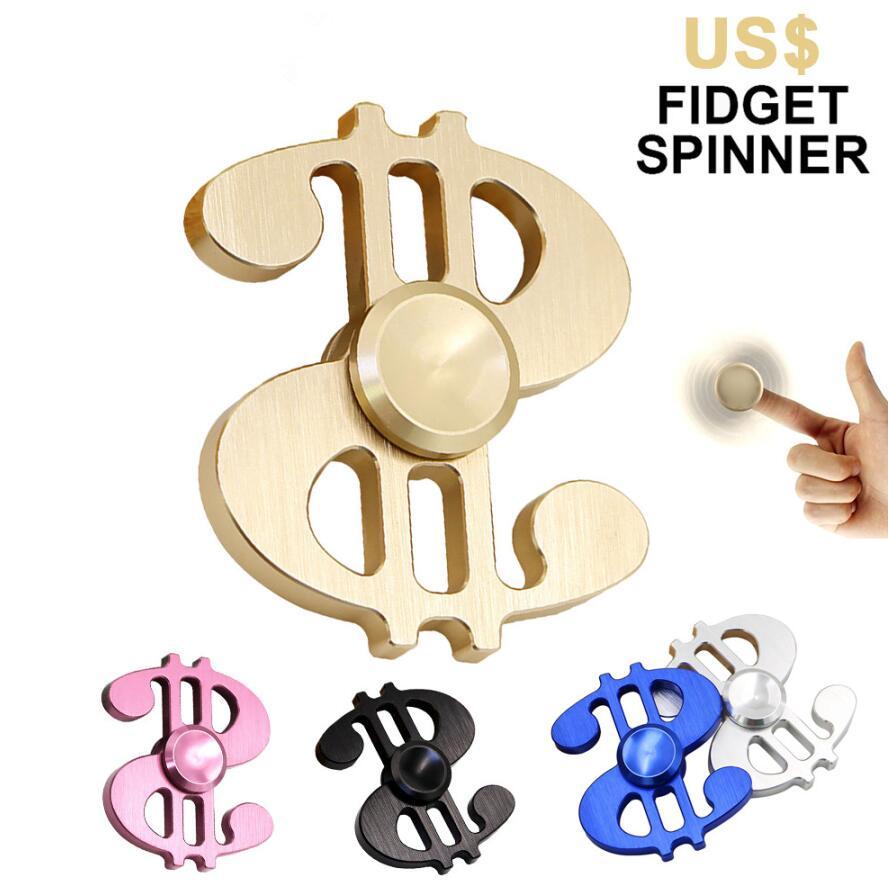Aluminum Alloy Dollar Sign Fingertip Gyro Fidget Hand Spinner Finger Spinner Toy Focus Tri Desk Toys Spinner Reduce Stress Gifts