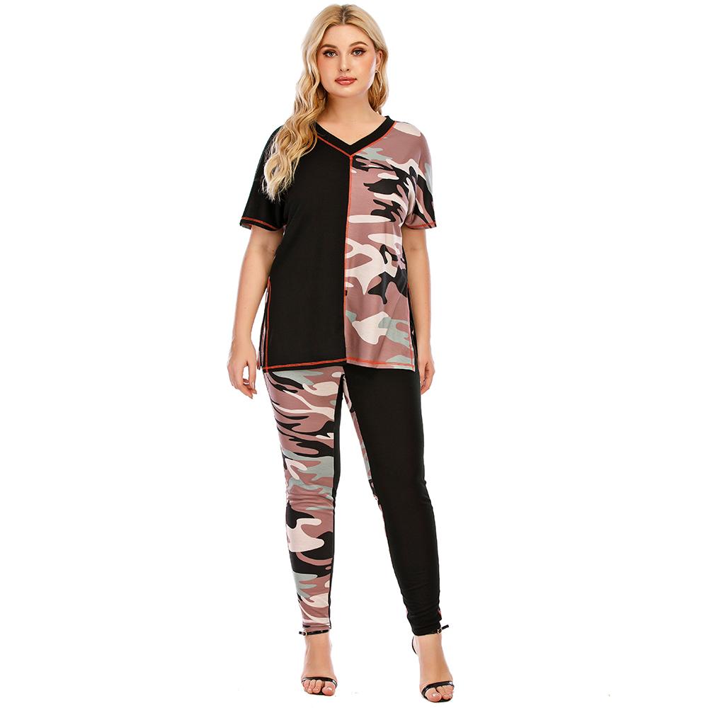 5XL Plus Size Woman Casual Tracksuit Camouflage Stitching Suit 2 Set Piece Set Tops T Shirt Long Pants Pockets Clothing Suit D30