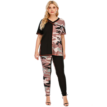 5XL Plus Size Woman Casual Tracksuit Camouflage Stitching Suit 2 Set Piece Set Tops T-Shirt Long Pants Pockets Clothing Suit D30