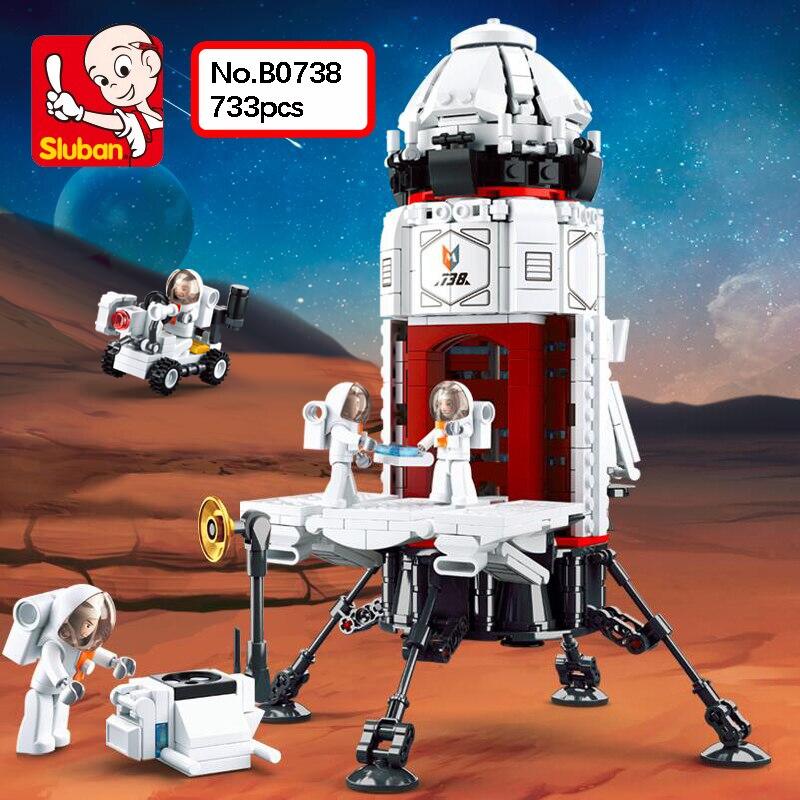Sluban B0738 espace aventure Mars Base fusée astronaute bricolage 3D modèle 733 pièces Mini blocs de construction briques jouet pour enfants sans boîte