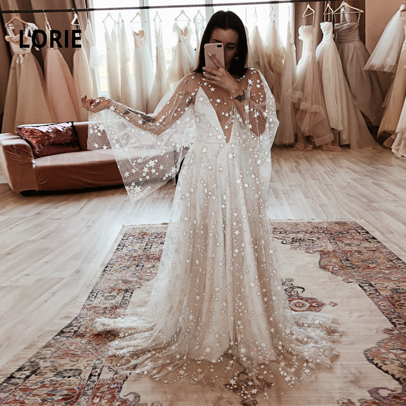 LORIE Glittering Star A-line Wedding Dresses Deep V-neck Bride Dresses Beach Boho Wedding Gowns  2019 New Wedding Party Dresses