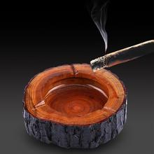 Портативная деревянная круглая пепельница для дома пепельница Портативный анти-обжигающий держатель для сигарет пепельницы для курения Декор для дома и офиса