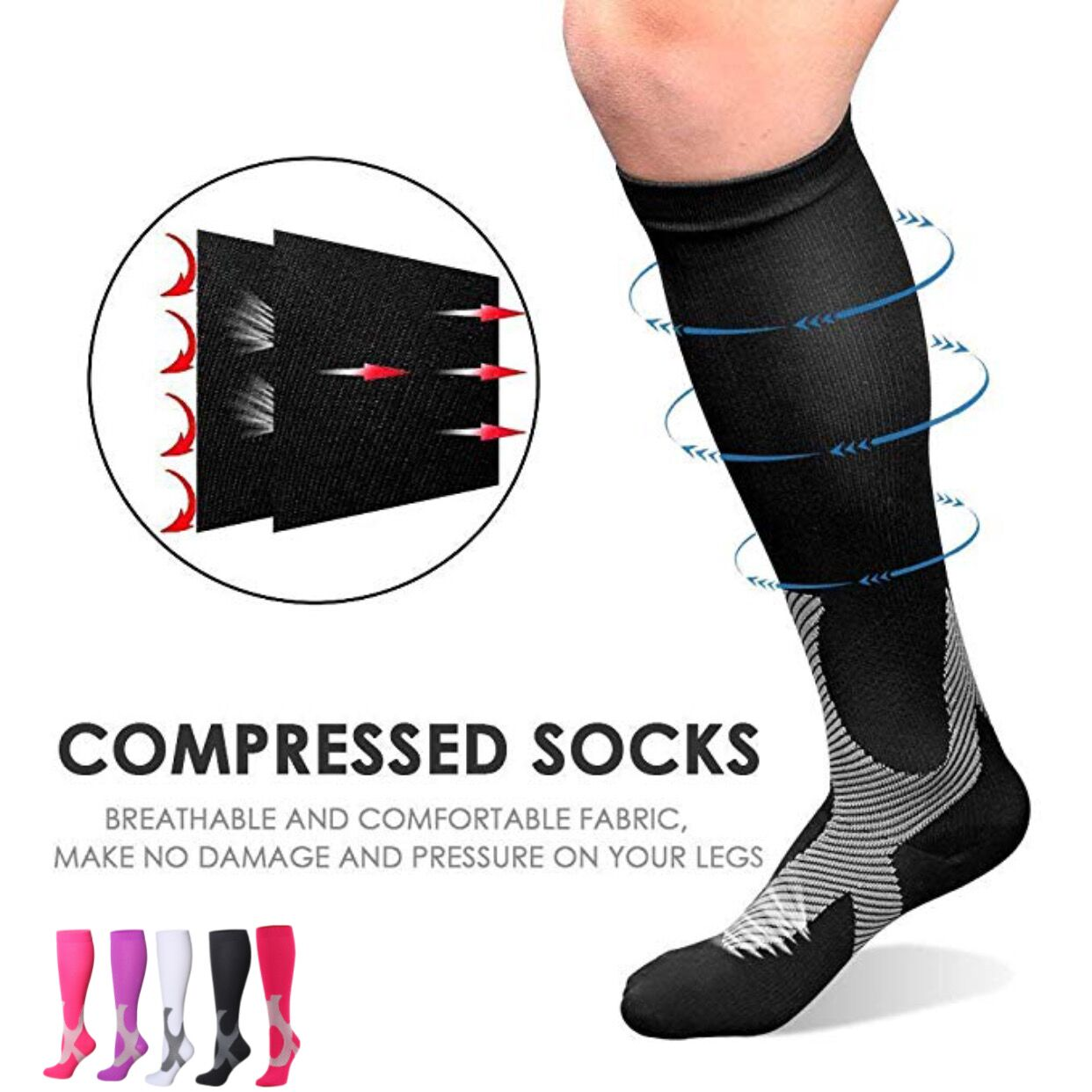 48 Color Elastic Unisex Compression Stockings Fit For Football Anti Fatigue Leg Protection For Men Women Breathable Travel Socks