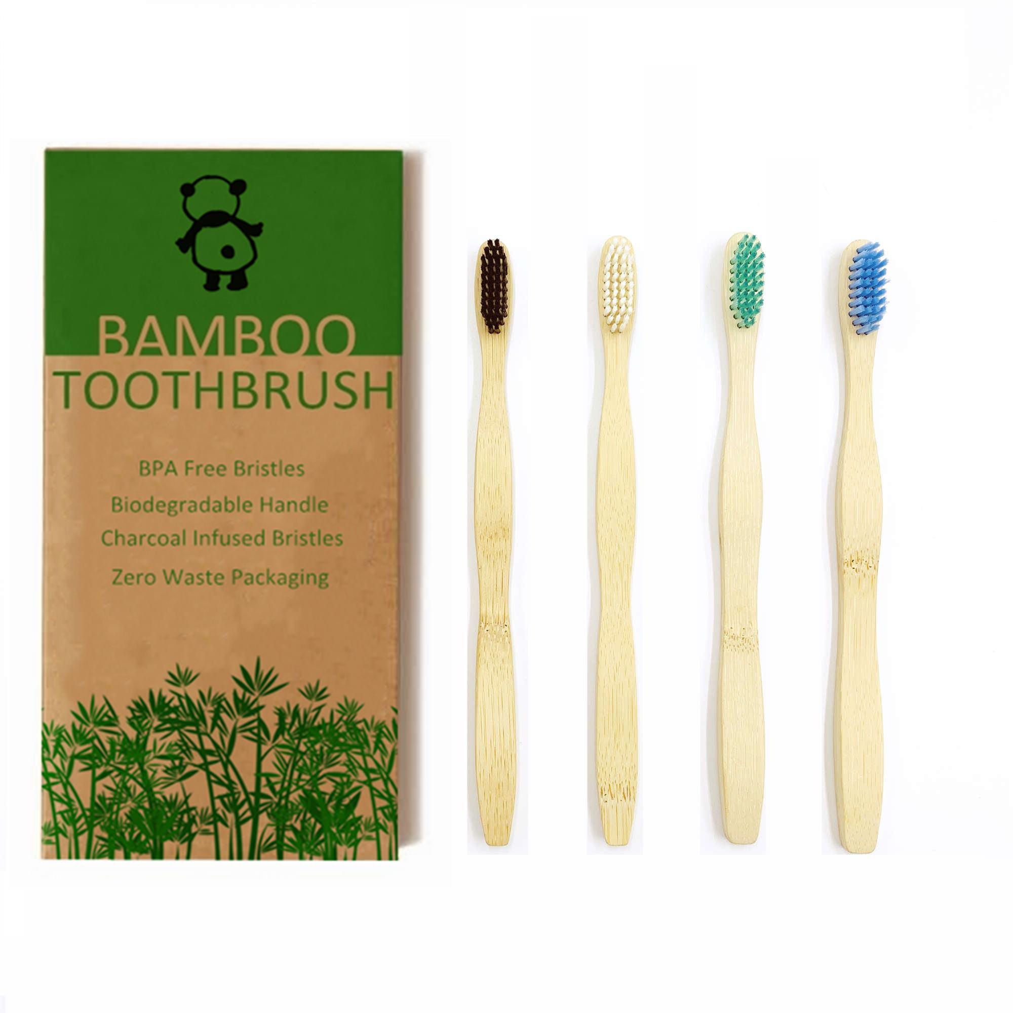 exiubro escova de dentes de bambu pacote de 4 escovas de dente de bambu natural eco