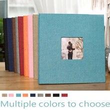 Фотоальбом из льна самоклеящаяся 16 дюймов, семейный фотоальбом ручной работы с открытым окном, креативный подарок