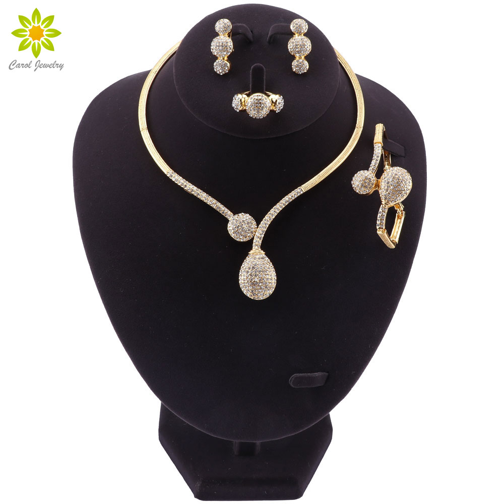 Luxury African Beads Jewelry Set Bridal Gift Gold Color Necklace Set Nigerian Wedding Dubai Jewelry Sets Design Accessories