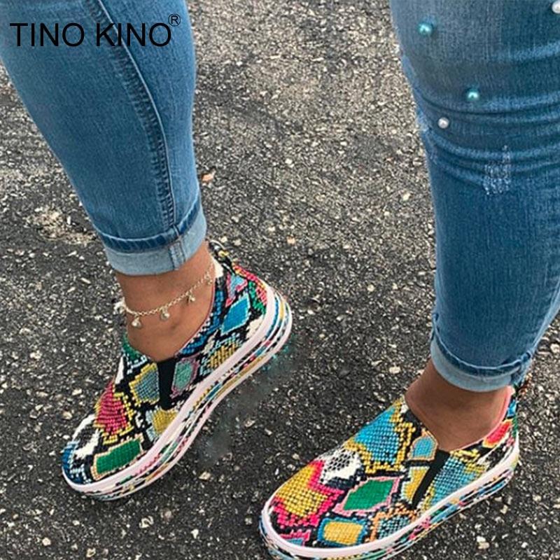 New Women Vulcanized Shoes Snake Printing PU Leather Sneakers Female Slip On Fashion Platform Woman Shoes Walking Footwear