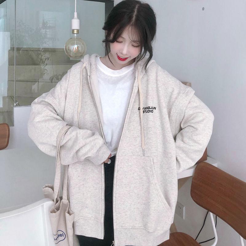 Harajuku with hat hoodies women zipper kangaroo pocket casual loose solid color sweatshirt female 2020 fashion new female tops 25