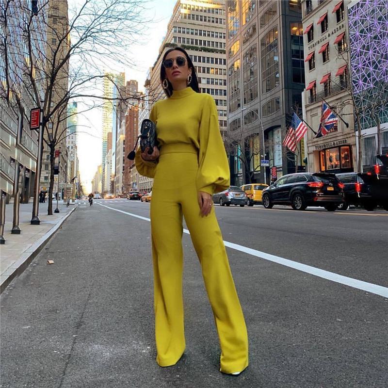 Casual Women's   Jumpsuit   Turtleneck Lantern Sleeve High Waist Slim Wide Leg Flare Pants Backless Button Elegant   Jumpsuits   Yellow
