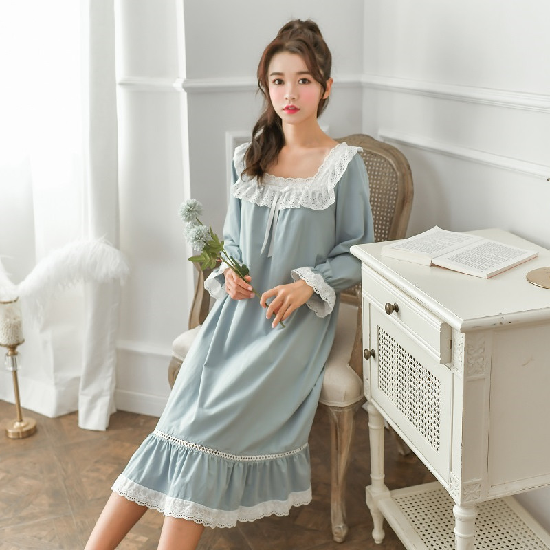 New Sweet 3 Colors Cotton Women's Long Nightgowns Long Sleeve Nightwear Vintage Girls Loose Sleepwear Spring Autumn Home Dress