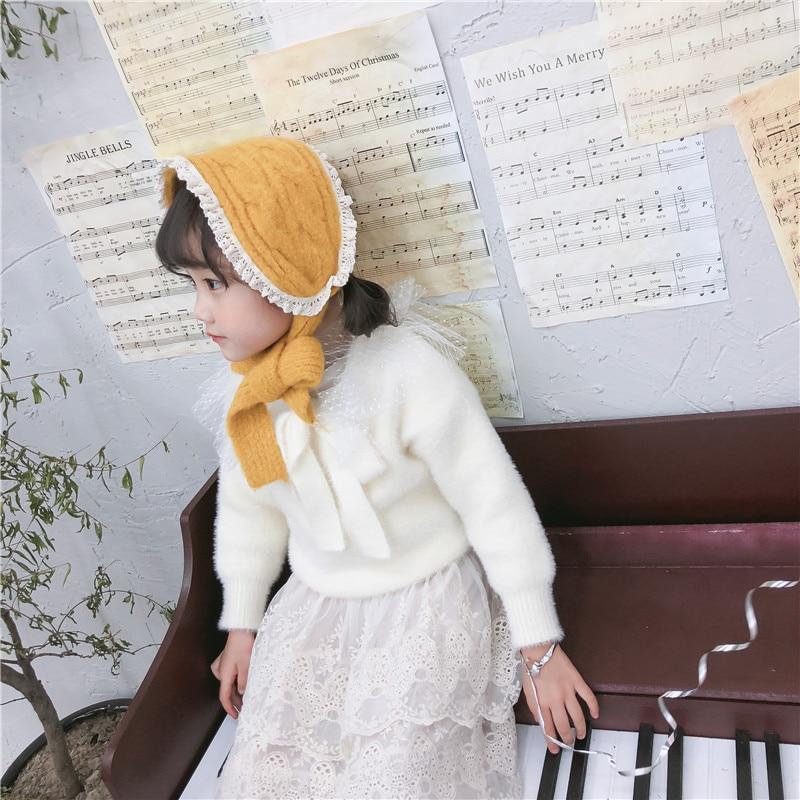 Korean Lace Solid Knit Wool Winter Soft Warm Kids Children Girls Boys Earmuffs Apparel Accessories-LHC