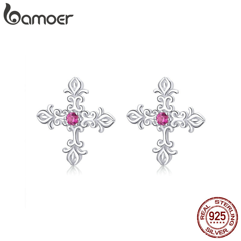 Bamoer Vintage Pattern Cross Stud Earrings For Women Authentic Sterling Silver 925 European Retro Statement Jewelry BSE123