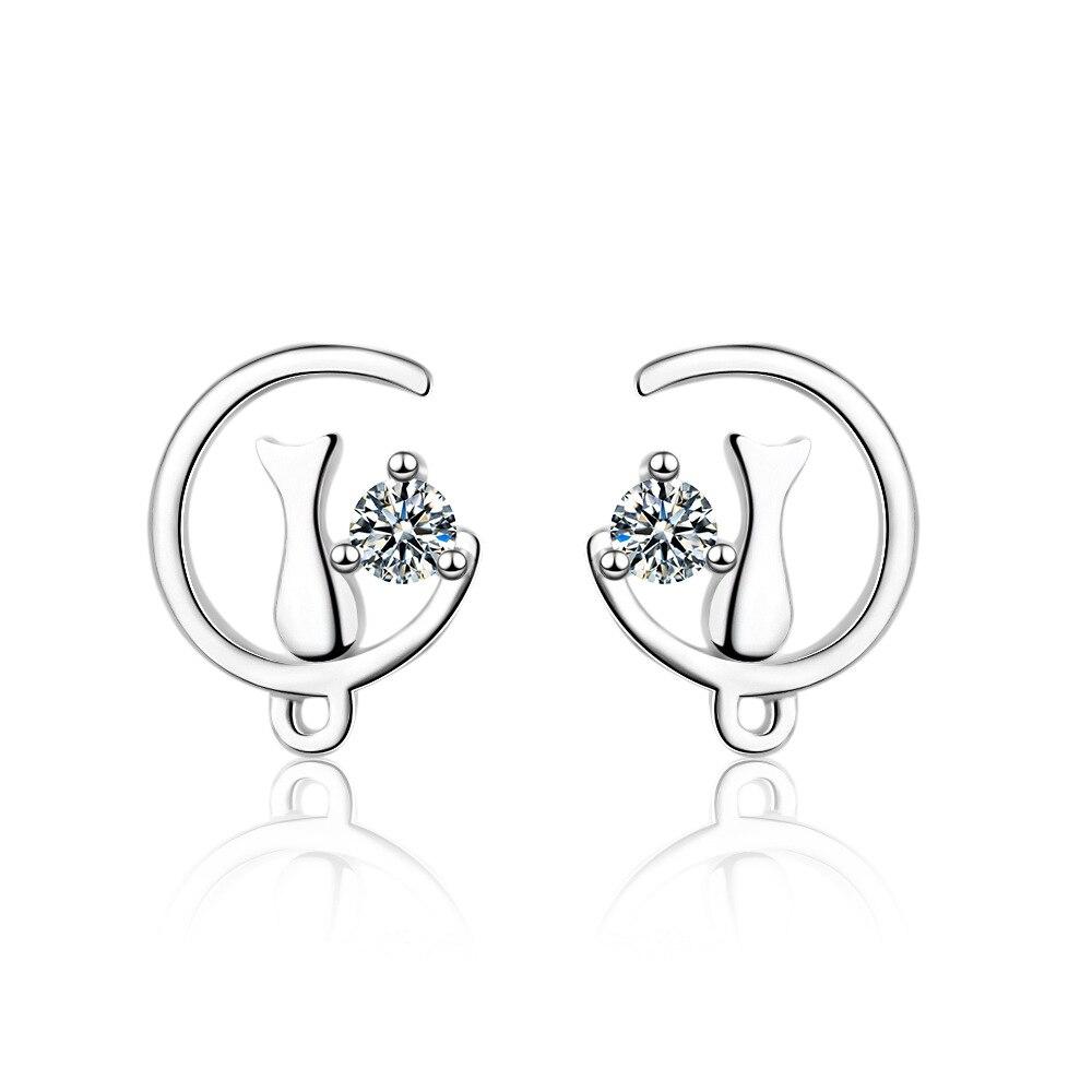 Women/'s 925 Sterling Silver Sweet Zircon Love Heart Stud Dangle Earrings Gift
