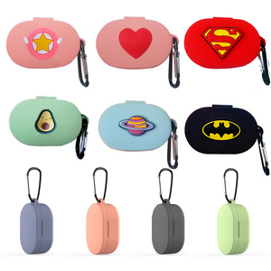 Cartoon Earphone Case With Hook for Xiaomi MI Redmi AirDots Headphones Cover TWS Bluetooth Earphone Wireless Charging Box Bags