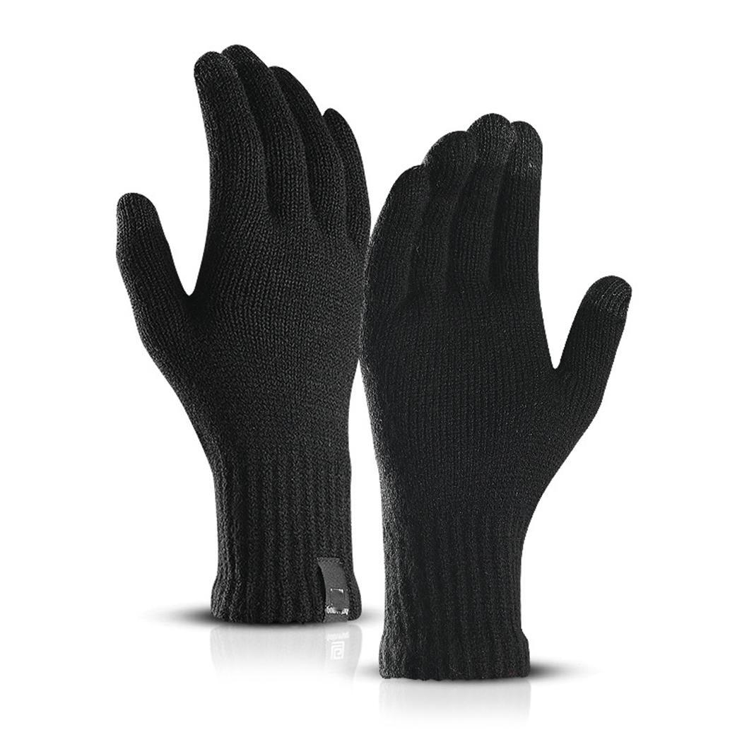 Touch Screen Knitted Gloves Winter Autumn Men High Quality Male Thicken Warm Wool Solid Gloves Mitten Business Gloves