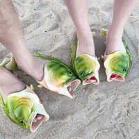 2020 Fashion fish-Shaped female Drag Slippers flip-flops Summer Outdoor Couple Beach Slippers Breathable Unisex Beach Shoes