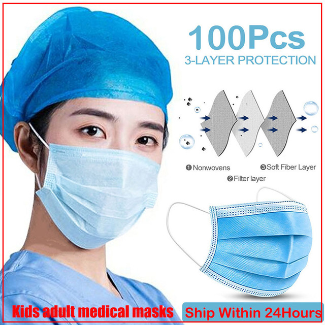 masque mascarillas Anti-Pollution 3 Layers Mask dust protection Face Masks Disposable Dust Filter Safety Mask Proof Flu Earloop