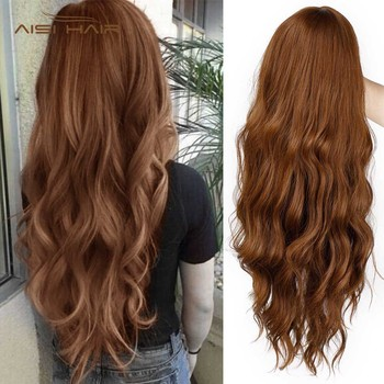Long Mix Brown Womens Wigs with Bangs Water Wave Heat Resistant Synthetic Wigs for Women African American 1