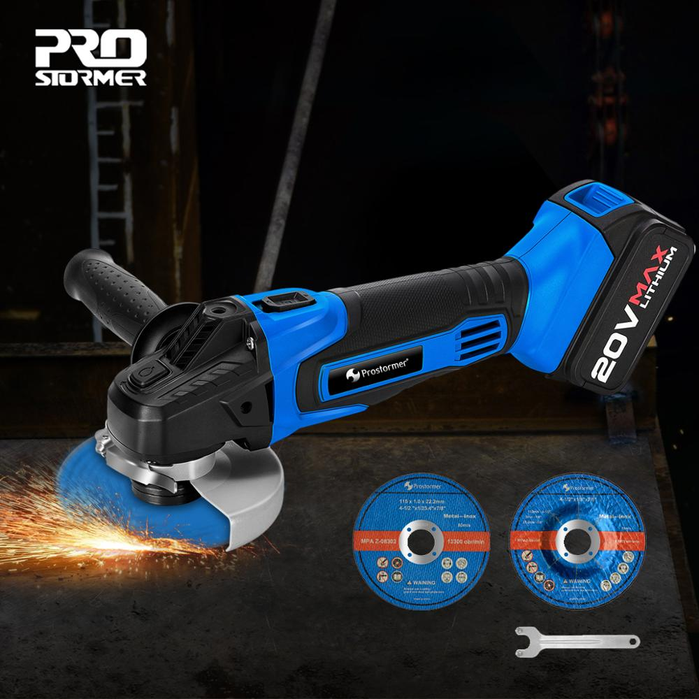 PROSTORMER 20V Cordless Angle Grinder Lithium-Ion 4000mAh Electric Grinder Grinding Machine  Angle Grinder Grinding Power Tools