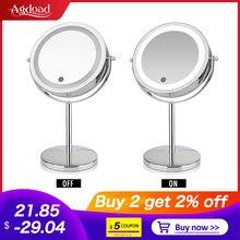 Agdoad 10x büyütme masaüstü makyaj aynası LED ışık 360 rotasyon çift taraflı 7 inç LED ışık ed makyaj kozmetik ayna