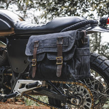 Sac à bandoulière en toile pour homme et femme, sacoche simple en cuir de vache, extérieur, rétro, grande capacité, sacoche latérale pour moto