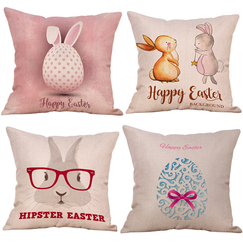 Easter Bunny Home Decorative Throw Pillow Case Hello Easter Rabbit with Eggs Farmhouse Decor Cushion Covers Party Decoration