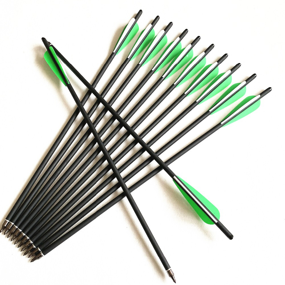 6/12/24Pcs Crossbow Bolt Arrows 17/20/22 Inches Mix Carbon Crossbow Arrow OD 8.8mm With Green Feather Archery Hunting Shooting