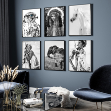 Wild Boho Woman Black White Poster Nordic Canvas Wall Art Print Animal Horse Owl Painting Decorative Picture Scandinavian Decor