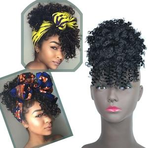 Короткие афро кудрявые высокие слоеные шнурки конский хвост с челкой парик обертывание Синтетический зажим для наращивания волос зажим дл...