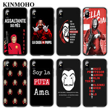 Spanien TV La casa de papel Geld Heist Phone Cases Abdeckung Für iPhone X XS MAX XR 7 8 Plus 6s 6 5s SE Funda Capinha Schwarz Weiche TPU(China)