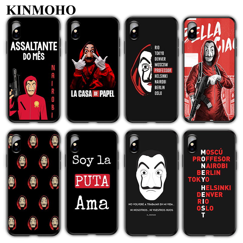 Spain TV La casa de papel Money Heist Phone Cases Cover For iPhone X XS MAX XR 7 8 Plus 6s 6 5s SE Funda Capinha Black Soft TPU image