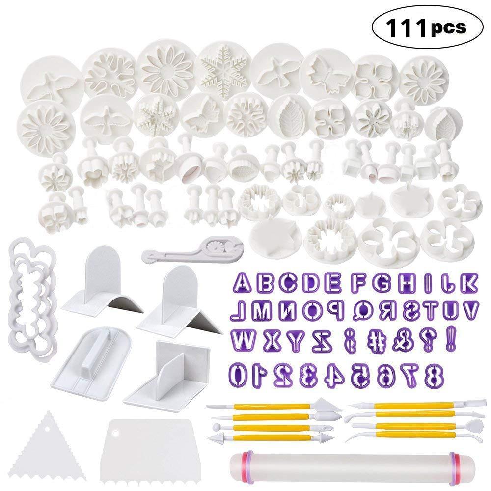 111PCS Birthday Fondant Decorating Tools Set Cake Sugarcraft kit Rolling Pin Smoother Embosser