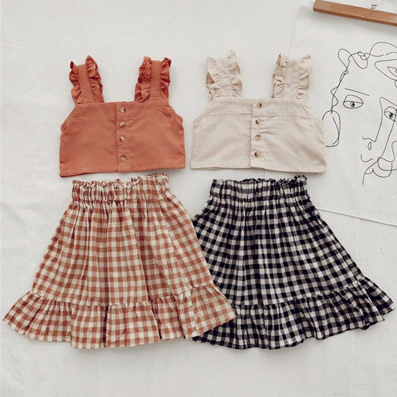 Baby Girls Clothes Set Summer Children Girls Solid Vest Top Plaid Tutu Dress 2 Pcs Toddler Girls Fashion Clothing Kids Set