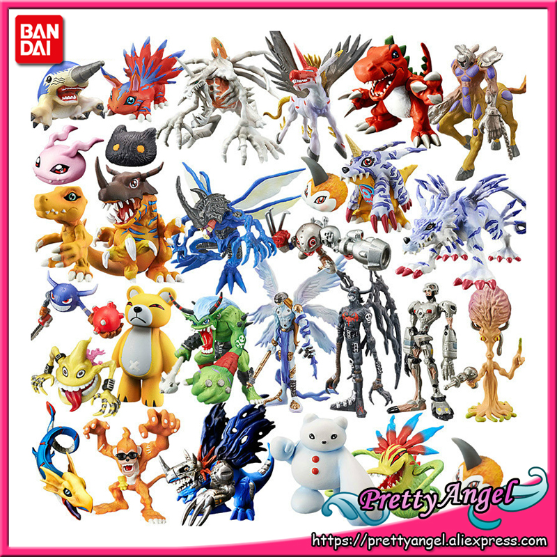 PrettyAngel- Genuine Bandai 20th Anniversary Digimon Digital Capsule Greymon Agumon OMEGAMON Gabumon Collection Mini Figure