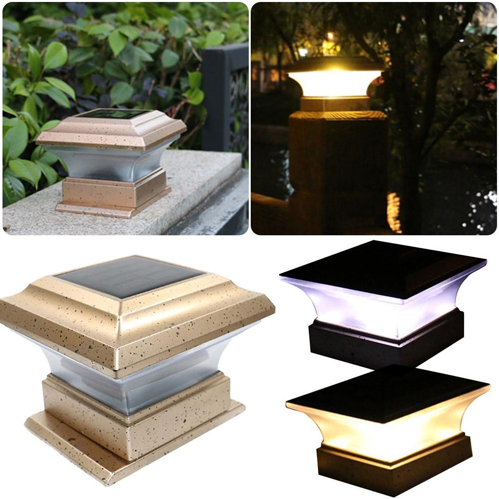 Hight Quality Outdoor Garden Solar Powered LED Post Deck Cap Square Fence Landscape Lamp Light For Dropship
