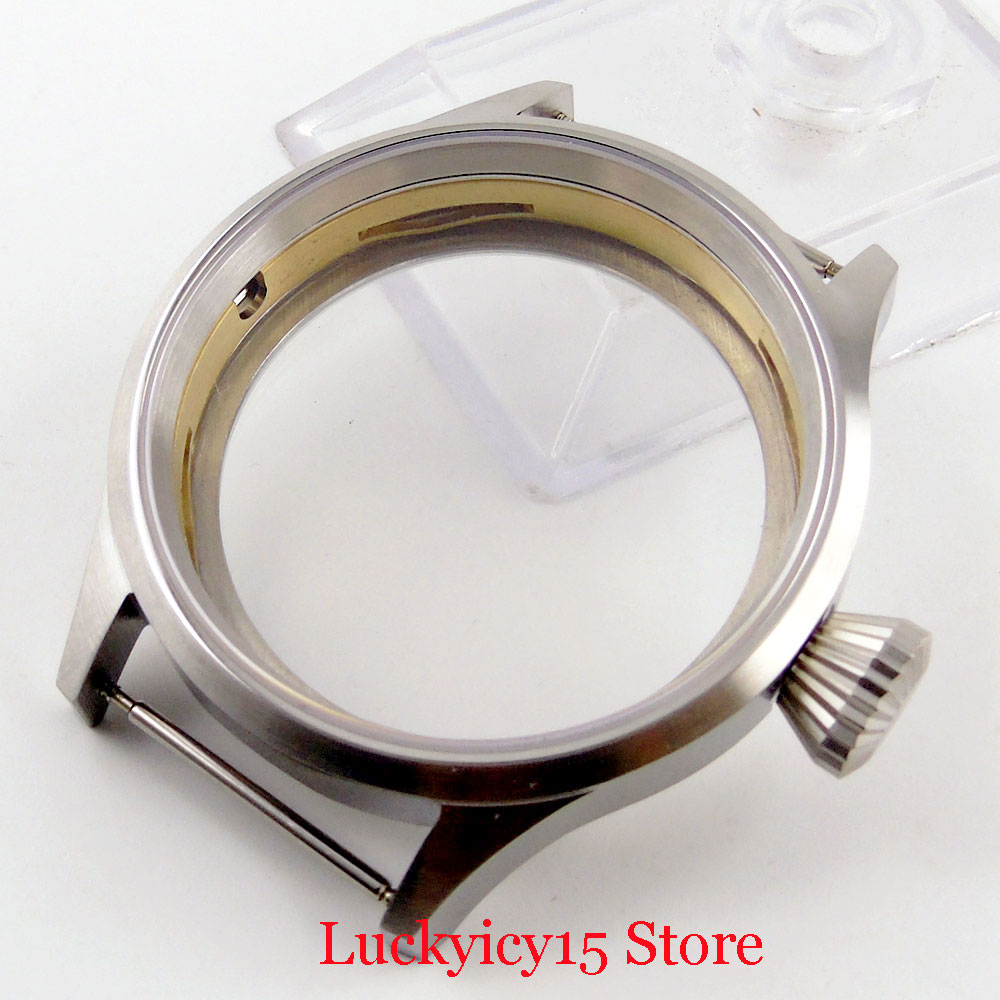 High Quality Round 316L Brushed <font><b>43mm</b></font> <font><b>Watch</b></font> <font><b>Case</b></font> with Glass Fit Hand Winding 6497/6498 Movement image