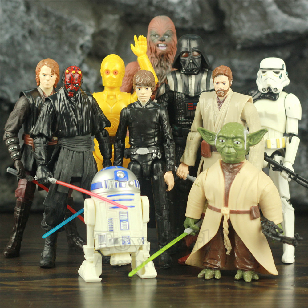 Star Wars Toys Luke Skywalker Anakin Obi Wan Master Yoda C-3PO R2-D2 Darth Maul Darth Vader Trooper 6