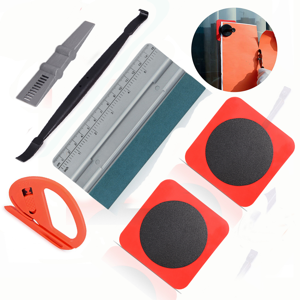 FOSHIO Car Tools Kit Adsorptive Patch Sheet Carbon Fiber Vinyl Wrap Magnet Stick Squeegee Film Cutter Tool Kit Car Accessories