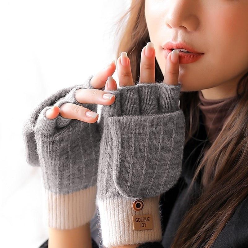 2021 New Fashion Knitted Women's Gloves Plus Velvet Warm Fingerless Gloves Thickened Flip Half-finger Touch Cycling Gloves