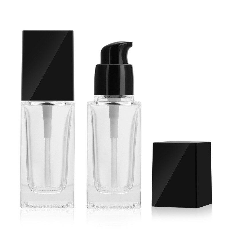 30ml kare likit fondöten buzlu cam şişe özü emülsiyonu doldurulabilir boş şişeler kozmetik ambalaj kabı