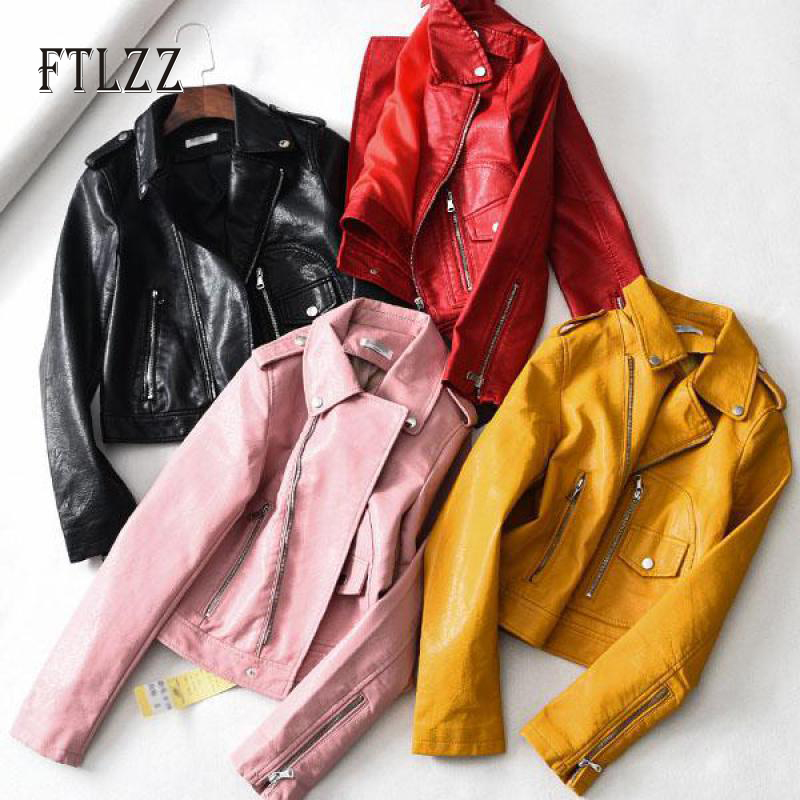 Women with belt biker   leather   jacket new 2019 autumn turn-down collar casual faux   leather   coat ladies PU outerwear